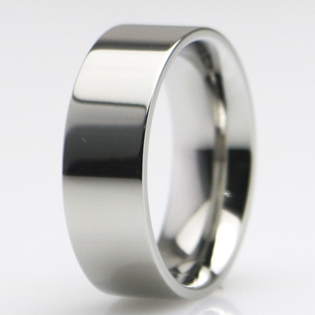 Women Mens Titanium Steel Wedding Band Comfort Fit Flat Polish Classic Single Ring 3MM/4MM/5MM/6MM/7MM/8MM Wide Available