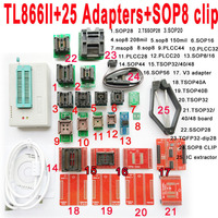 Minipro USB TL866II programmer + 25PCS adapter socket SOP8 Clip IC clamp Bios Flash EPROM Support 15000