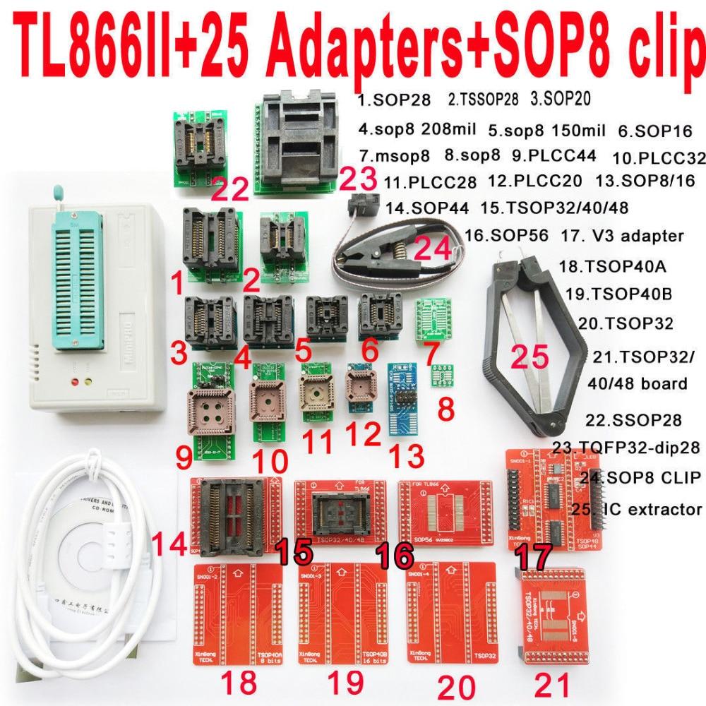 Minipro USB TL866II programmateur + 25 pièces adaptateur prise SOP8 Clip IC pince Bios Flash EPROM Soutien 15000