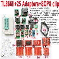 Minipro usb tl866ii 프로그래머 + 25 pcs 어댑터 소켓 sop8 클립 ic 클램프 bios 플래시 eprom 지원 15000