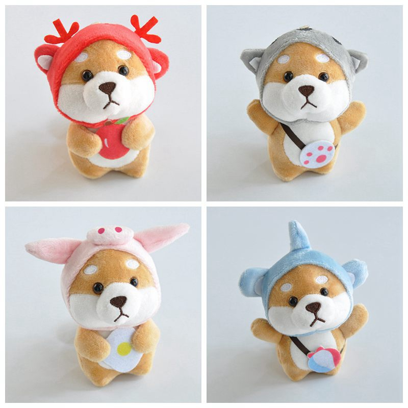 Kawaii Stuffed Animals Dress Up Dog Plush Elephant Deer Model Keychain Backpack Pendant Stuffed Toys For Children Birthday Gifts