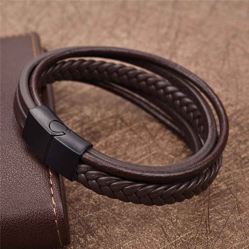 Jiayiqi New Punk Braid Leather Bracelet for Men Black Stainless Steel Clasp Wristband Male Jewelry Vintage Fashion Best Gifts