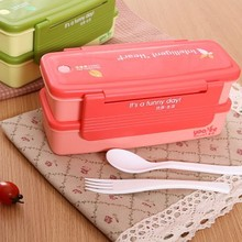 Free shipping BF020 Double layer microwave box food container 21*10*9cm