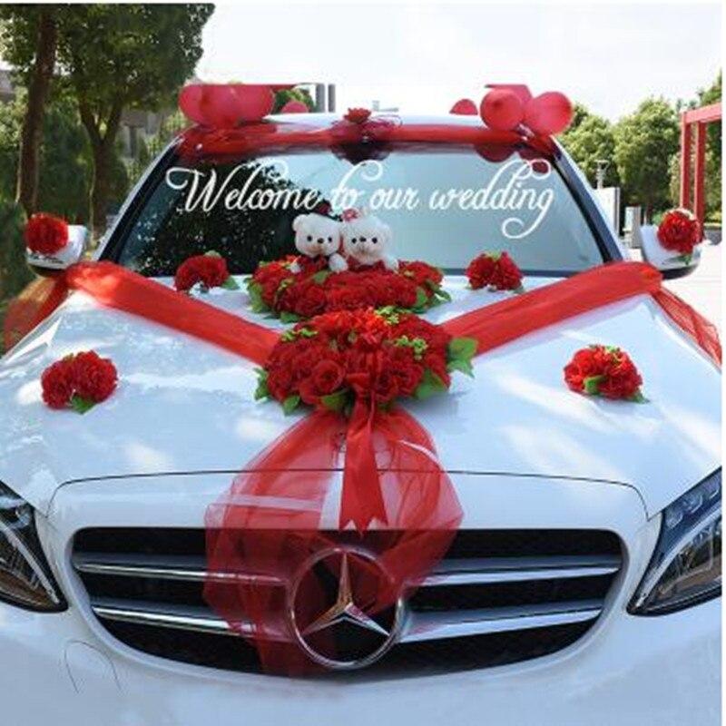 Свадебное Оформление автомобиля шелковые цветы с медведем свадебный автомобиль искусственные розы гирлянда украшения свадебные централь...