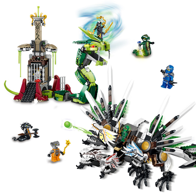 цена 959Pcs LELE 79132 Ninja legoe ninjagoes Armageddon Epic Dragon Battle Building Block Sets DIY Brick Toys For Children Gift