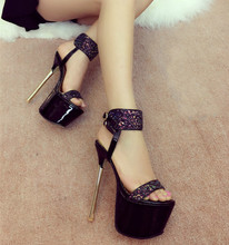 Fine with 16cm nightclub wind 2016 spring and summer shoes sandals high with shiny surface
