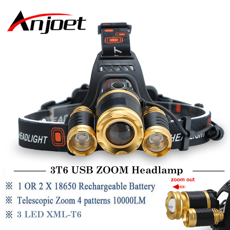 Anjoet 3LED Headlamp 10000LM 3T6 Chips Headlight Rechargeable Zoom Head Light Flashlight Hunting 18650 Battery USB Charger boruit 10000lm xml t6 chips led headlamp rechargeable zoom headlight hunting camping head light flashlight by 18650 battery