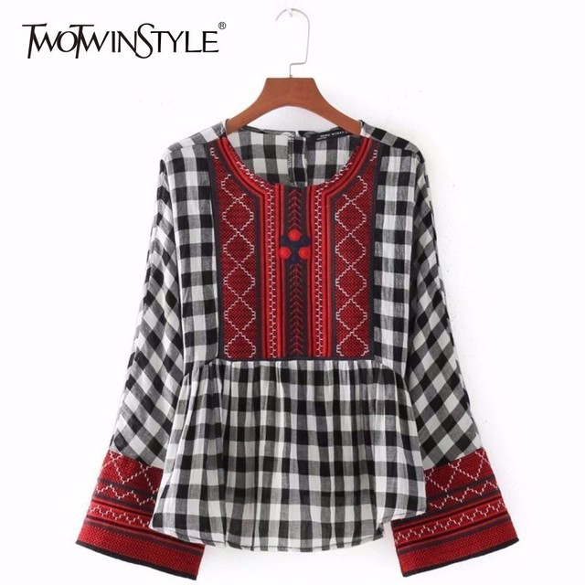 TWOTWINSTYLE Plaid Shirt Women Embroidery O Neck Flare Sleeve Tunic High Waist Ruched Blouse Top 2018 Spring Vintage New Clothes