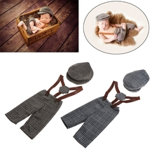 Overalls Pants and Hat Set Accessories for Newborn Photography Props Plaid Costume Infant Baby Boy Little Gentleman Outfit