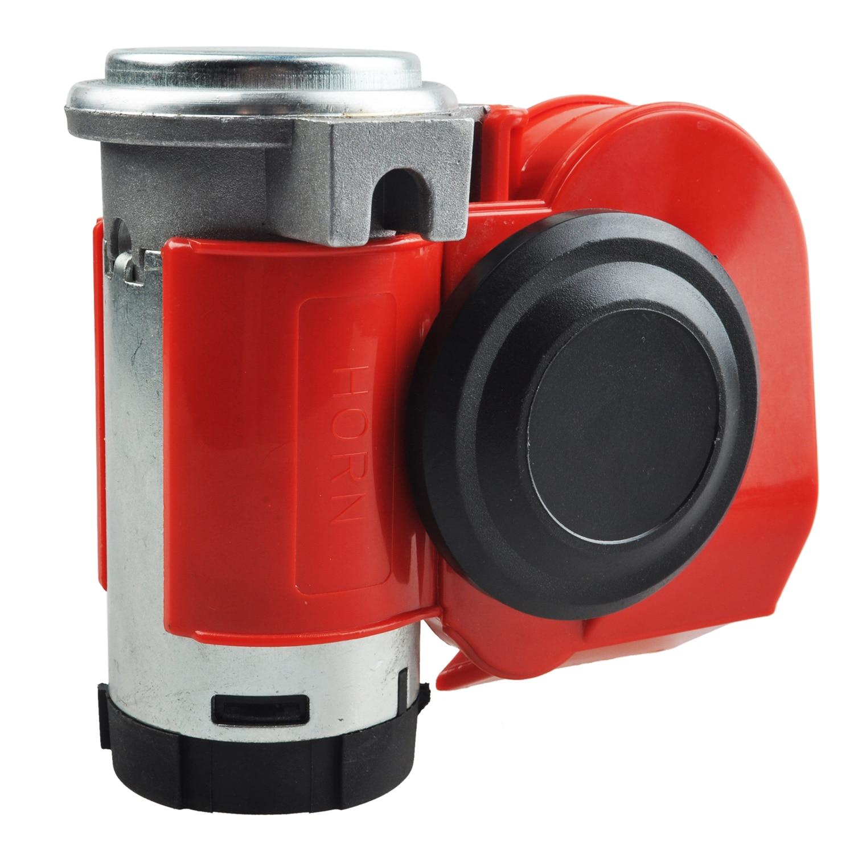 Twin Dual Tone Compact Air Loud Horn 12V 110-125db Compressor Red Truck Car Bus Van phfa motorcycle car auto vehicle van truck 5 sound tone loud horn siren max 12v g0479 t15 0 3