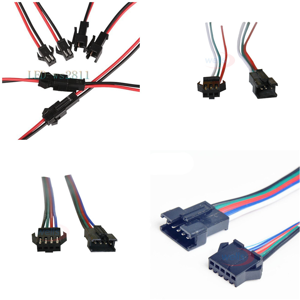 5pairs 2 3 4 5 Pin JST Connector 2 X 15cm 2pin Male/female Connector For Led Strip Light Lamp Driver CCTV