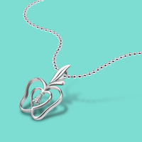 Lovely Solid Silver Apple Pendant Design 925 Sterling Silver Necklace Female Pendant Necklace Charm Jewelry Clavicle