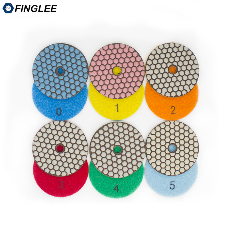 FINGLEE 6pcs / set, 3 pouces, 4 pouces 5 étapes tampons de polissage diamant sec Tampons de polissage flexibles en résine