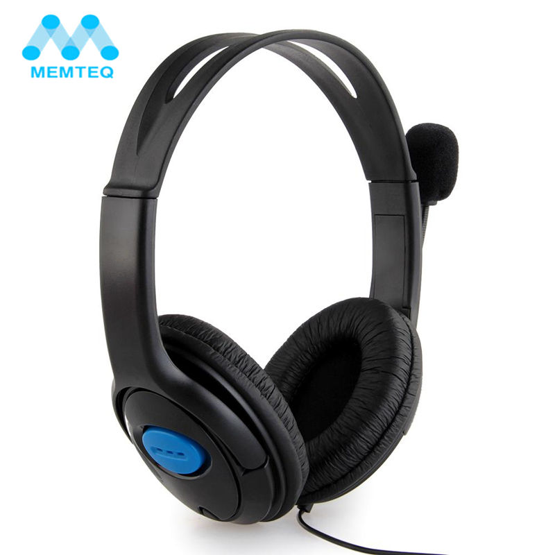 MEMTEQ Headphones 3.5mm Wired Gaming Headset Microphone Earphone with Mic Chat For Computer Playstation 4 PS4 Smartphones Black