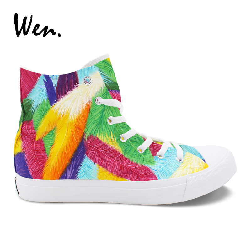 Wen Design Custom Bright Colourful Feathers Hand Painted High Top Sneakers Canvas Shoes Women Athletic Shoes Plimsolls Men wen design custom hand painted anime shoes grimgar of fantasy and ash high top women canvas sneakers men athletic skate shoes