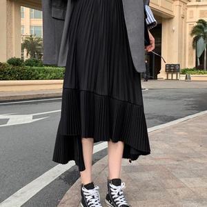 Image 2 - 2020 סתיו חדש הגעה קוריאנית סדיר חצאית מתוק קפלים שיפון חצאית Faldas Largas Elegantes שחור חצאיות משלוח חינם