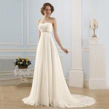 FOLOBE Simple Strapless Beading Lace Vestidos De Noiva Backless Pearls A-line Long Wedding
