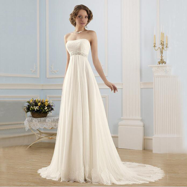 Simple Strapless Beading Lace Up Vestidos De Noiva Tulle Backless A-line  Maxi Wedding Dresses Robe De Marriage Bridal Gowns 166a632b24bd