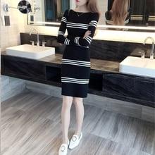 SPARSHINE Women Knit Dress Elegant Ladies Vestidos Mujer Robe Femme Ete Long Sleeve Elegant Knitted Sweater Dress