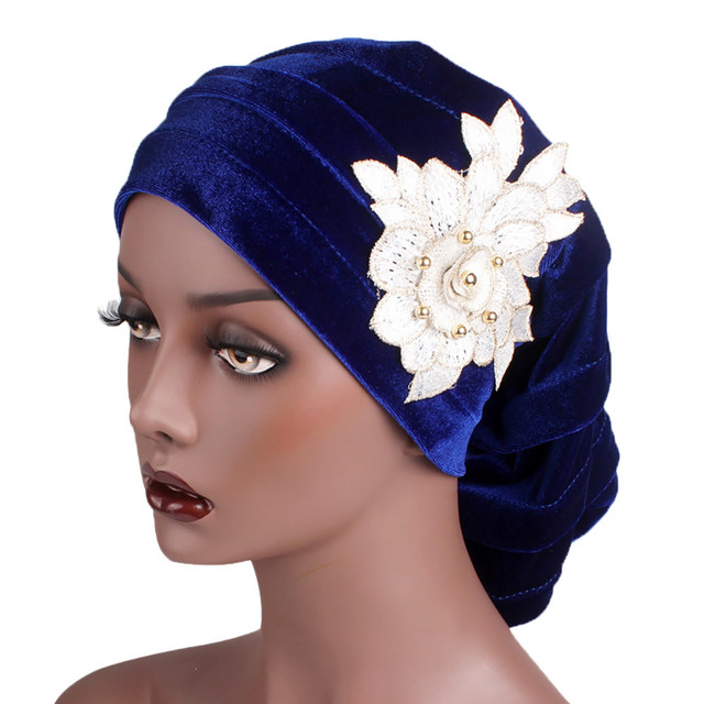 Women Large Flower Model Headscarf Chemotherapy Cap Western Style Ruffle  Cancer Chemo Hat Beanie Scarf Turban Wrap hedging Cap 05080c0d326a