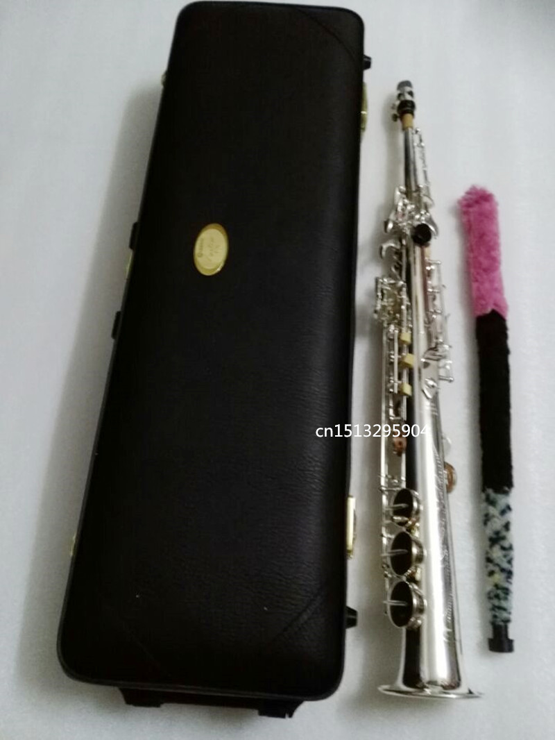 Brand YSS-475 Silver Saxophone Soprano B flat play professionally a straight Top Professional-quality Musical Instruments brand new soprano saxophone yss 475 bronze b flat playing professionally one straight top musical instruments professional grade