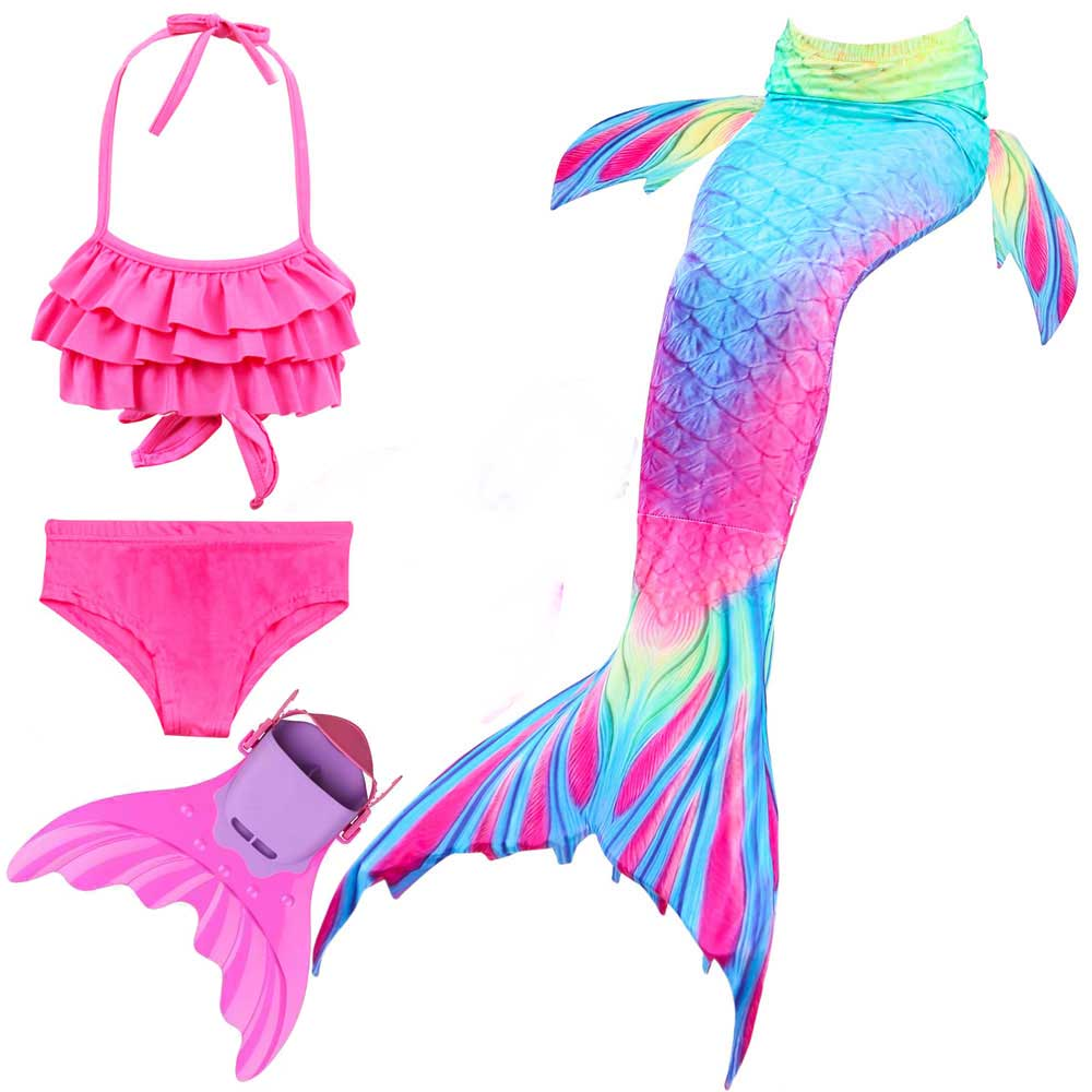 3-12 Years Girls Mermaid Tail Costume Swimsuit And Bikini Set Kids Children Mermaid Tail For Swimming And Monofin