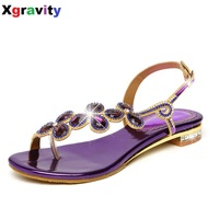 Comfort Summer Shoes New Ladies Casual Leaf Shoes Sexy Crystal Rhinestone Design Women Sandal Hot Ladies