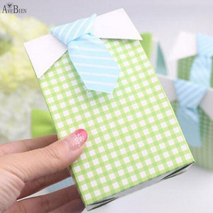Image 2 - 50 pcs My Little Man Blue  Bow Green Tie Birthday First Communion Boy Baby Shower Candy Bag Wedding Favors Candy Box Gift Bags