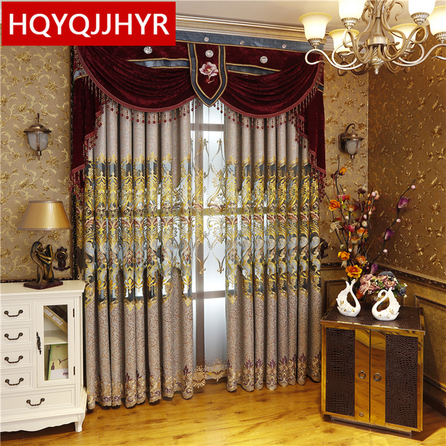 European Royal Aristocratic Luxury Embroidery Curtains For Living  Room/Study Upscale Custom Classic Curtains For Bedroom/Kitchen
