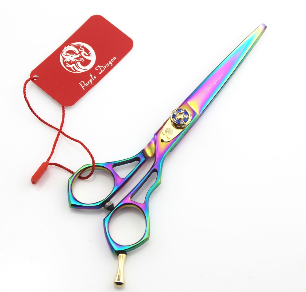 <font><b>558</b></font># 6'' Brand Purple Dragon TOP GRADE Colorful Hairdressing Scissors JP 440C Home & Salon Barber's Cutting Scissors Hair Shears image