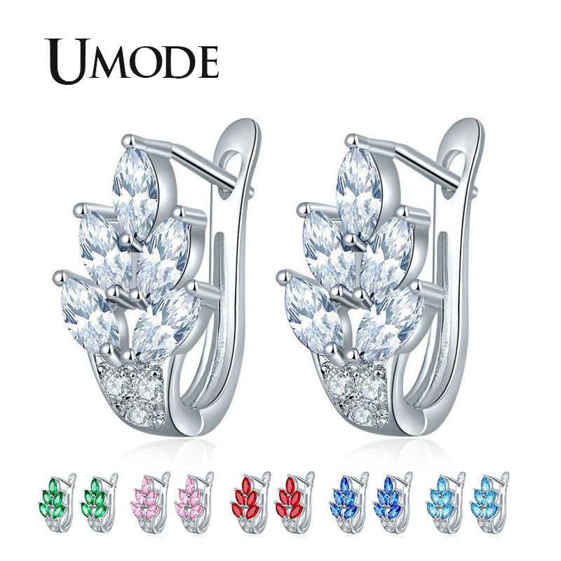 UMODE 6 Colors Colorful Leaves Leaf Zirconia Stud Earrings for Women Small Fashion Jewelry Bridal Wedding Party Gifts UE0587