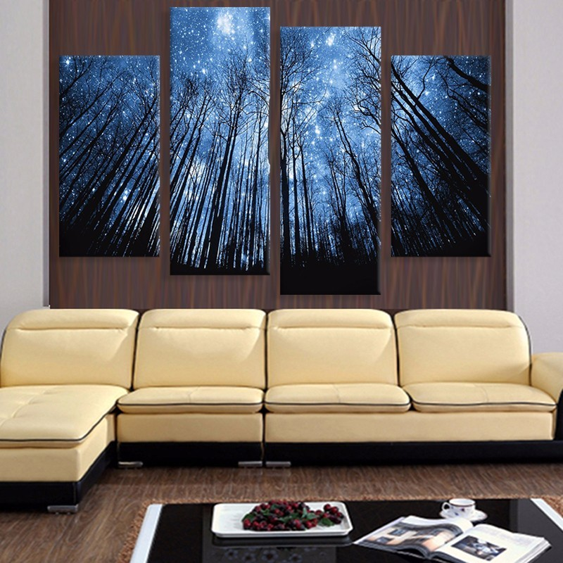 4 Panels printed modular canvas painting Star Night Tall Tree print art modern home decoration wall art picture for living room