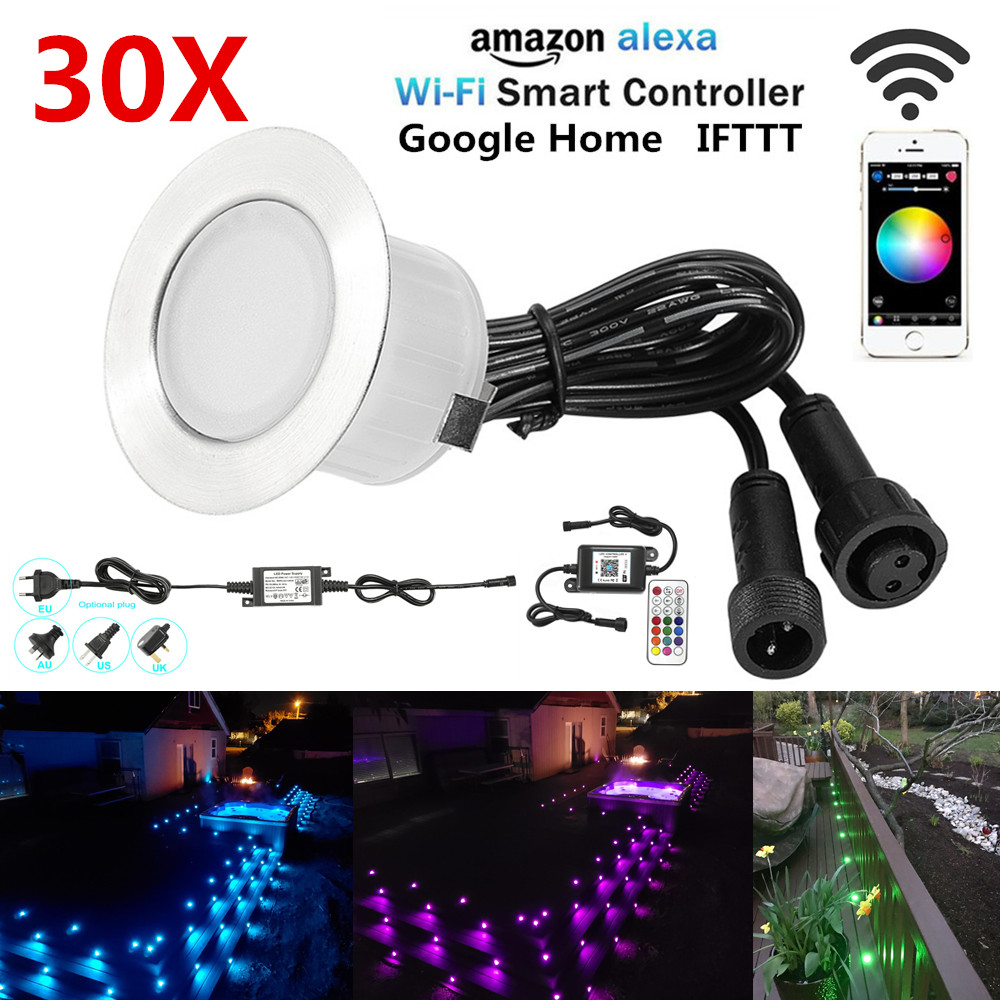 Led Lamps Lights & Lighting 30pcs/lot App Wifi Music Controller Dimmer Timer 47mm 12v Rgb Waterproof Yard Terrace Led Deck Rail Stair Soffit Step Lights