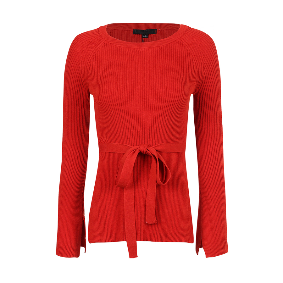 Online Shop Knitted Lace Up Cashmere Sweater Women Flare Sleeve ...