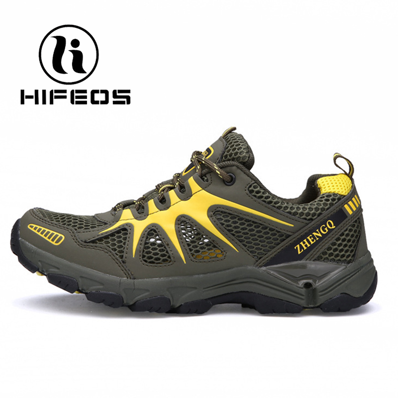 HIFEOS hiking shoes men's summer breathable mesh light wear new outdoor sneakers comfortable boot non-slip trekking climing M085 hifeos outdoor hiking shoes anti slip boots lace invisible increased men s shoes comfortable breathable sneakers climing m065