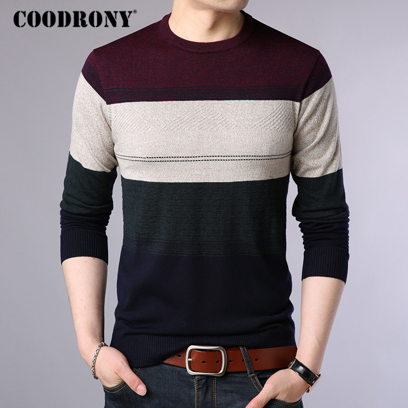 COODRONY Brand Sweater Men Streetwear Fashion O-Neck Pullover Men Autumn Winter Cashmere Wool Sweaters Knitwear Pull Homme 91069