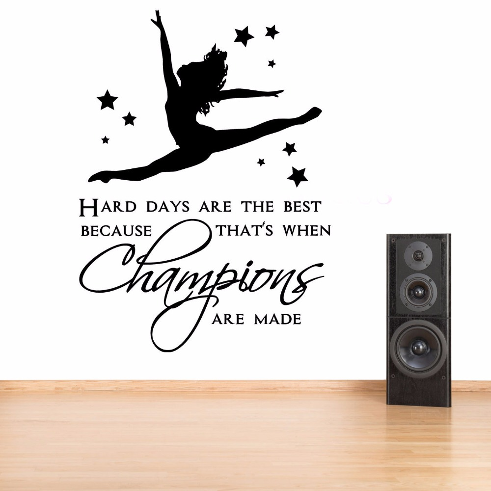 Wall Stickers Elegant Ballet Dancer Quotes Decal I Dance Therefore I Am Vinilos Decorativos Wall Stickers For Bedroom Vogue Pattern Syy028