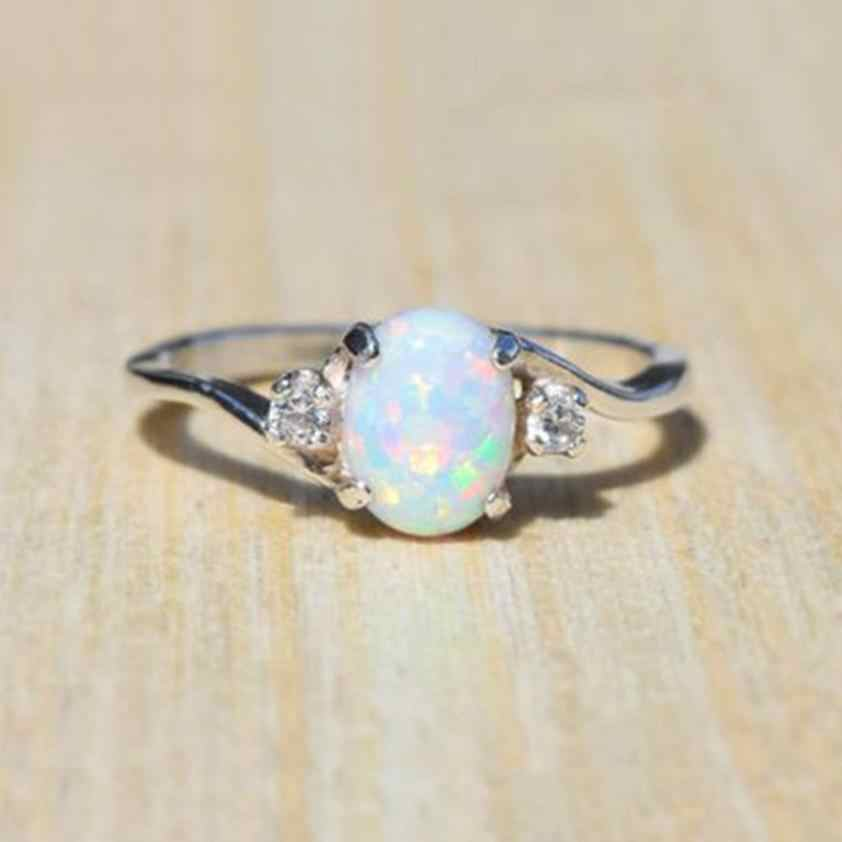 Exquisite Women's Rings Silver Ring Oval Cut Fire Opal Jewelry Aneis Birthday Proposal Gift Bridal Engagement Ring Anel Trinket