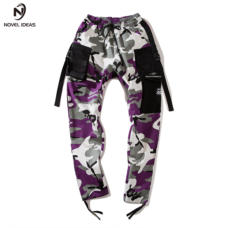 Image 2 - Novel ideas Fashion Men Camouflage Pant High Waist Hiphop Pink Camo Pant Military Pant Jogger Dance Pant US Size-in Casual Pants from Men's Clothing