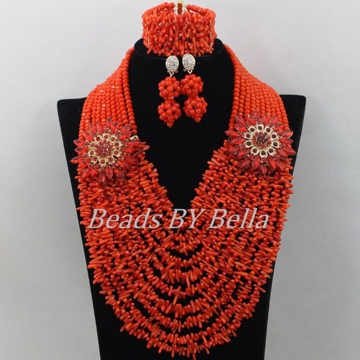 Bridal Lace Jewlery Nigerian Wedding African Beads Jewelry Set Orange Coral Beads Women Costume Fashion Set Free Shipping ABF469 casio часы casio mtp 1379l 7b коллекция analog