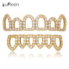 LuReen Hip Hop Grillz Micro Pave CZ Stone Open Hollow Gold Teeth Top&Bottom Vampire Cosplay Caps Jewelry LD0137