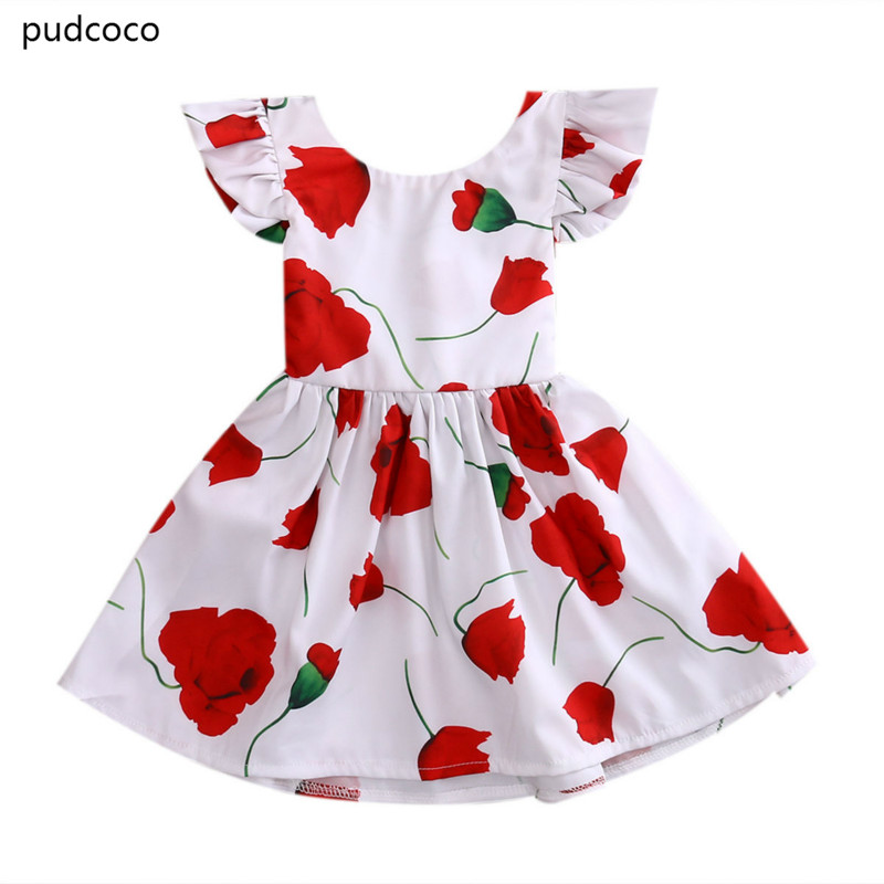 Cute Rose Flower Girls Princess Dress Kid Baby Ruffles Party Pageant Dress Back Bow Red Rose Tutu Dresses Clothes 1-6Y lace red girls dress rose tutu dress for wedding clothes with bow knot infant girls clothes white light pink baby clothing 2017