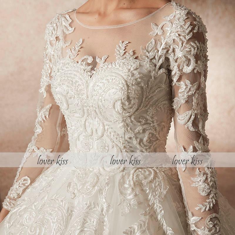 dbec2c72c Amante beso vestidos novias boda 2019 con reborde manga larga encaje  vestidos de boda modelo princesa diseño vestidos de novia Abiti Da Sposa en  Vestidos de ...