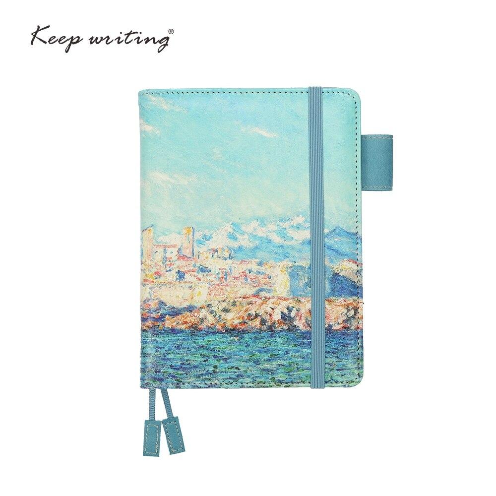 A6 rejilla portátil papel rayado punteado diario páginas en blanco puede elegir planificadores diario papelería pequeña libreta cubierta de la pintura al óleo