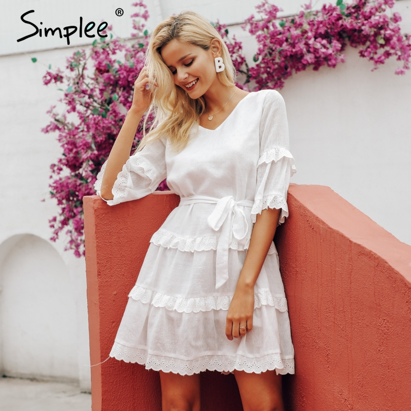Simplee Elegant Embroidery White Dress S19DR0806