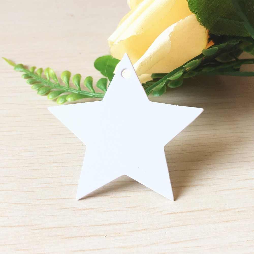 100 piezas de Papel Kraft de estrella de cinco puntas Etiqueta de regalo DIY etiqueta colgante precio de la tarjeta de etiqueta del nombre del equipaje de boda 5,2x5,2 cm