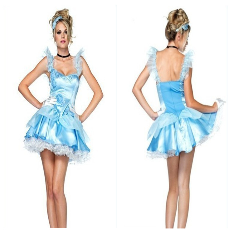 New Blue Cute Lolita Cinderella Snow White Princess Halloween Cosplay Costumes Carnival Outfit For Adult Women Tee Dress Up