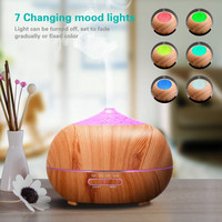 400ml Wood Grain Essential Diffusers Humidifier 7 Colour Changing LED Lights Aroma Diffuser Wood Grain Ultrasonic