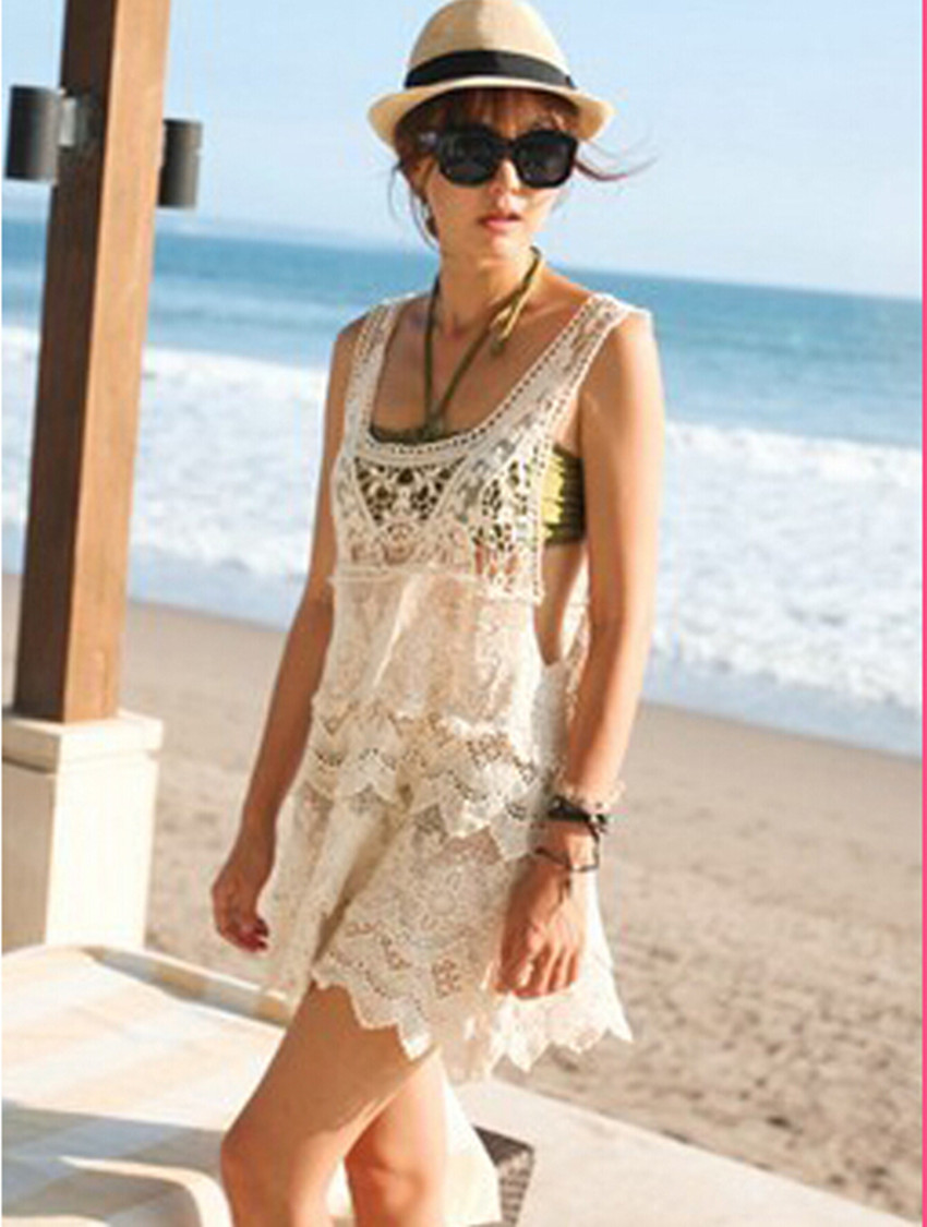 Women Summer Lady Cotton Elegant Crochet Lace Hollow Out Backless Tank Dress Casual Design Beach Dress Holiday Seaside Vestido