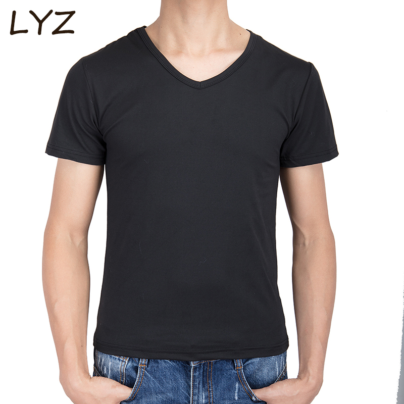 Solid color Casual T Shirt Mens Black White Gray V-Neck T-shirts Summer Skateboard Tee Boy Hip hop Skate Tshirt Tops